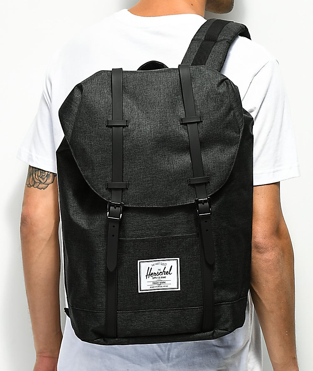 zniżki z fabryki informacje o wersji na świetne oferty Herschel Supply Co. Retreat Black Crosshatch Backpack