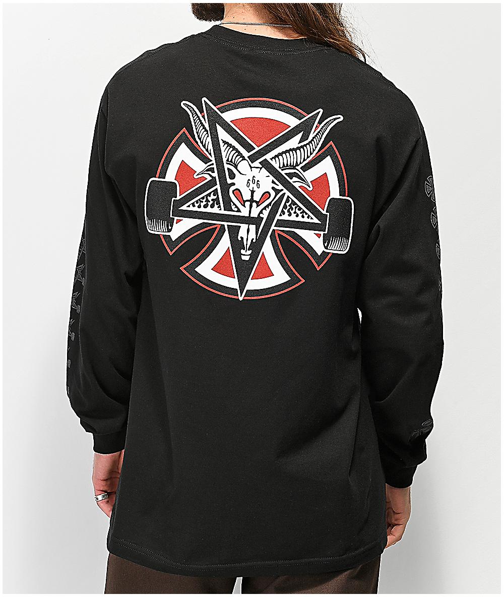 Independent x Thrasher PENTAGRAM CROSS LONG SLEEVE Skateboard Shirt WHITE XXL