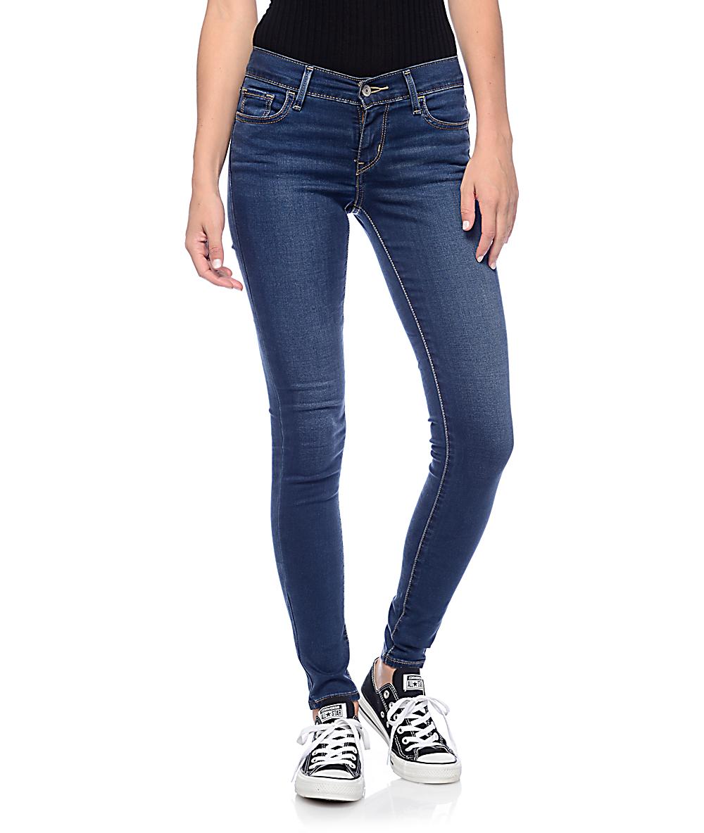 af461b3d04db4c Levi's 710 Dark Blue Mid Super Skinny Jeans | Zumiez