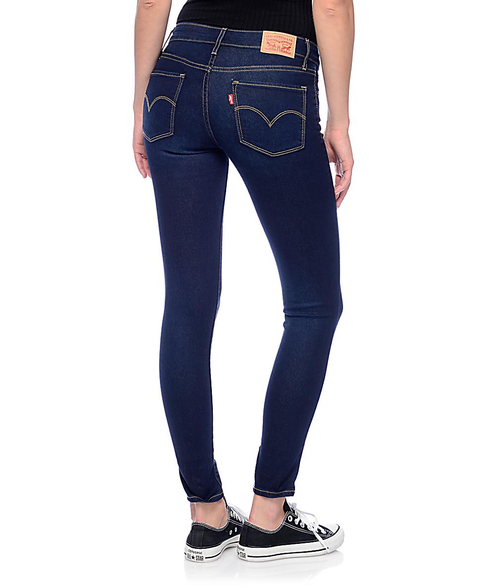 Levi's 711 Mid Jeans Skinny Dark Indigo R4AjLq35