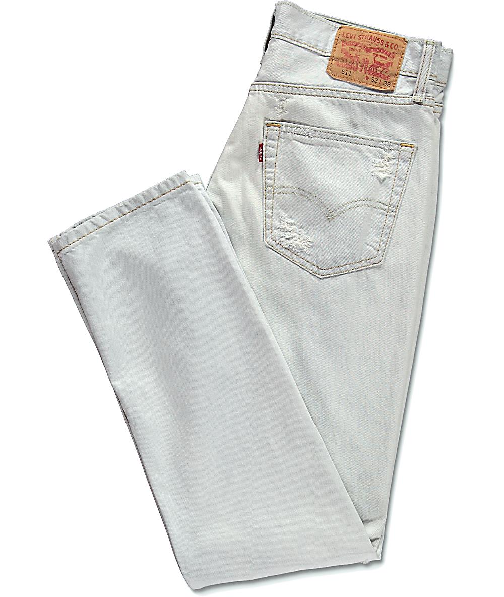 511 Levi's Rotos Thrashed Jeans Blancos DH9WYE2I