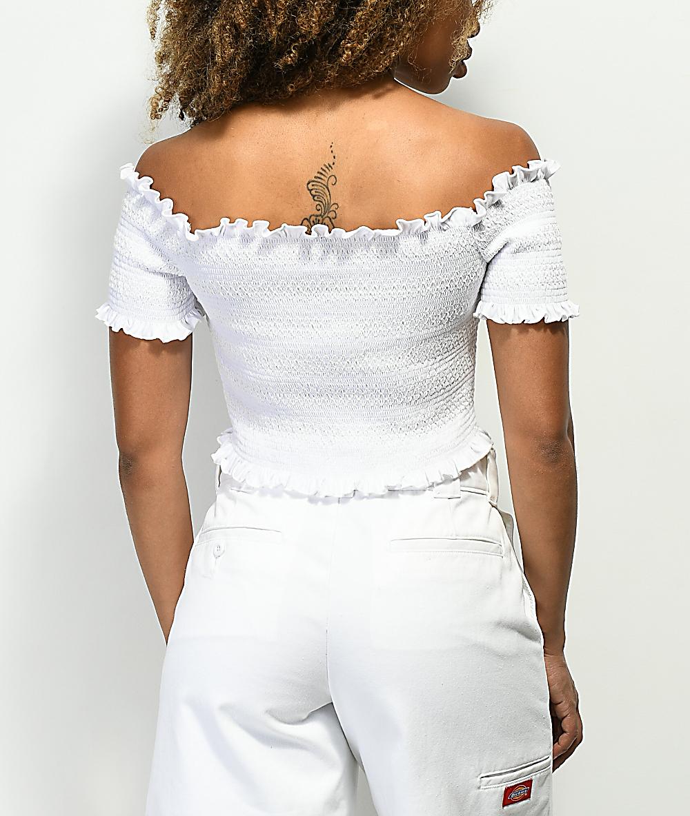 15d7851679710b Lunachix Lizzie Off The Shoulder White Smocked Crop Top | Zumiez
