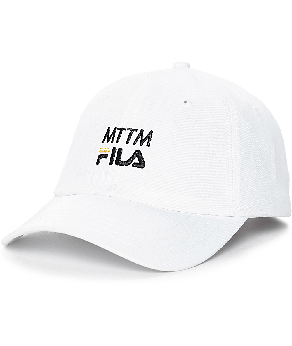 a1dcca38de8a54 Married To The Mob x FILA Logo Woven White Baseball Hat | Zumiez
