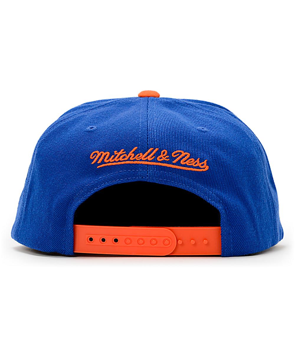 big sale b29e4 d41aa NBA Hall Of Fame x Mitchell and Ness Upside Down Knicks Blue Snapback Hat    Zumiez