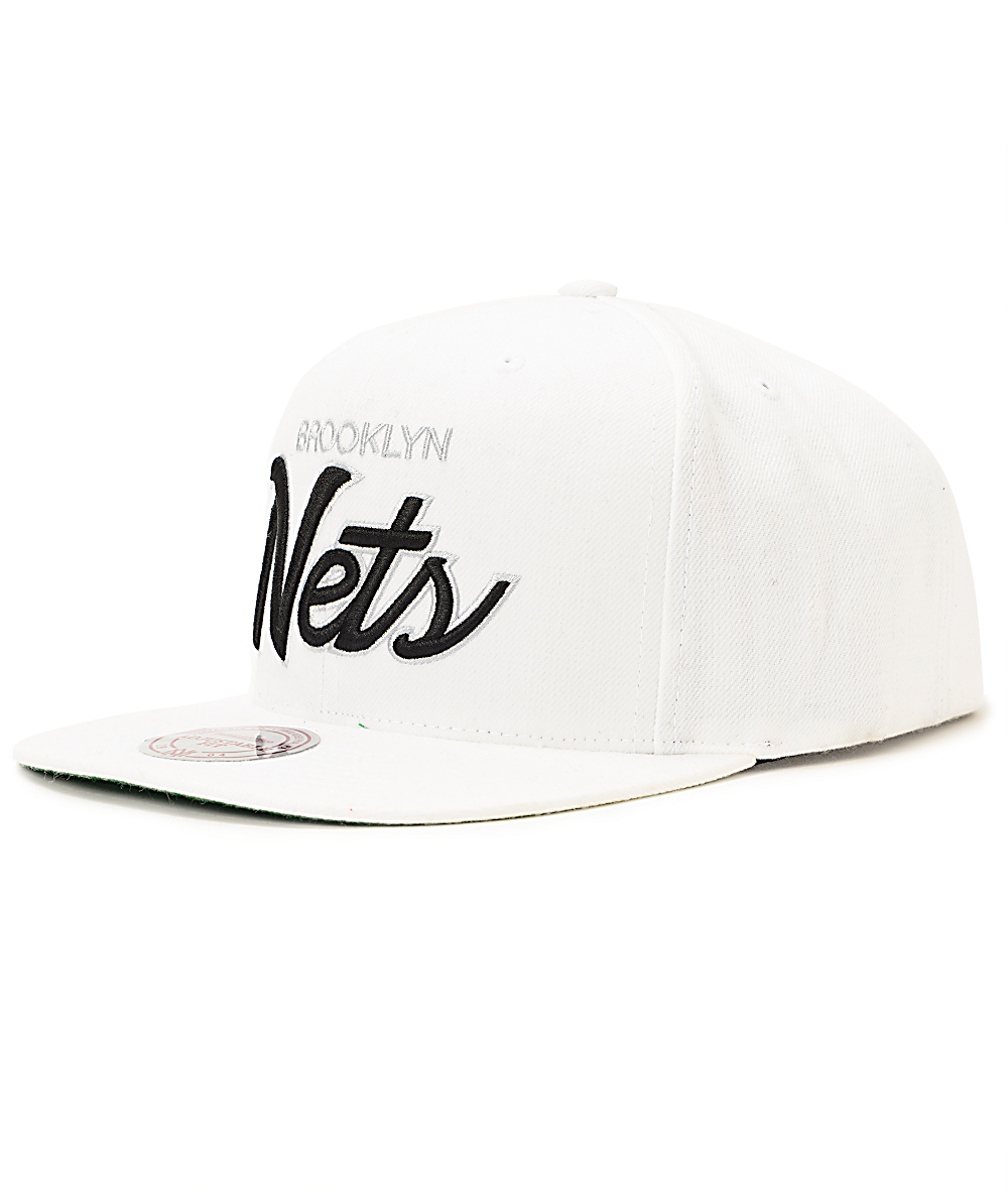 0f3ced47 NBA Mitchell and Ness Nets Current All White Snapback Hat