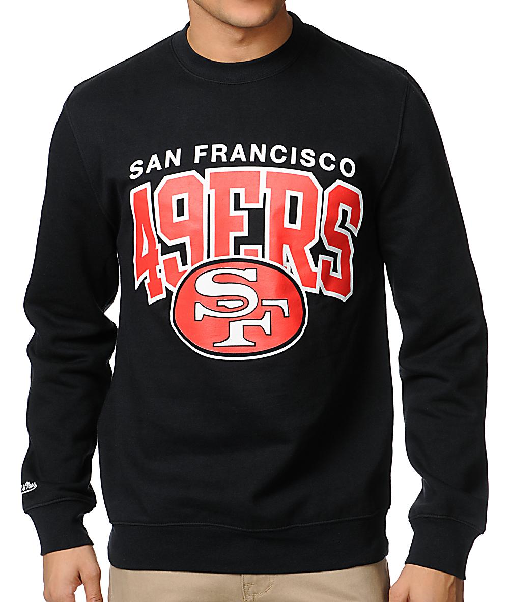 huge discount 62e35 60c79 NFL Mitchell & Ness San Francisco 49ers Black Crew Neck ...