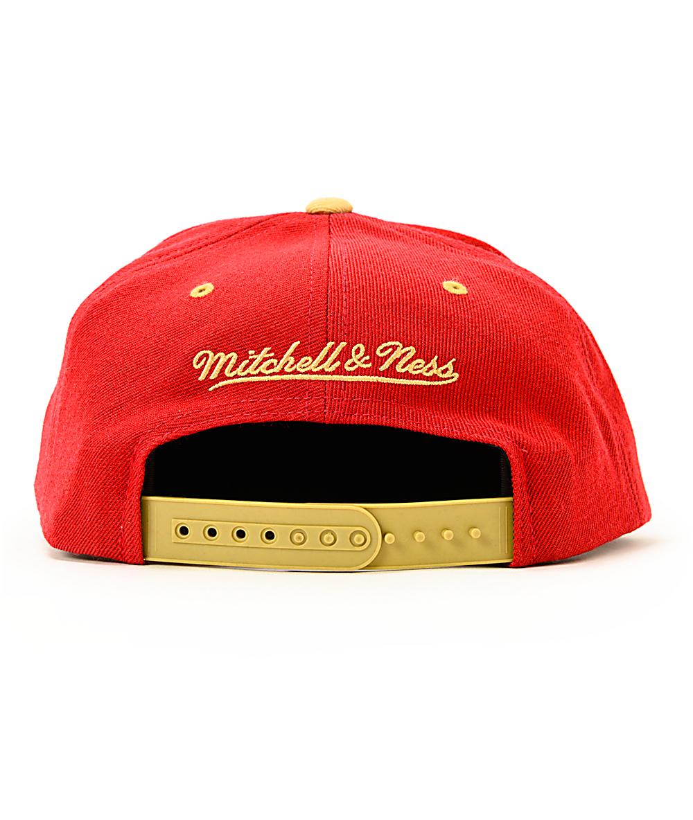 24cb9ba5 NFL Mitchell and Ness 49ers Arch Logo Snapback Hat   Zumiez