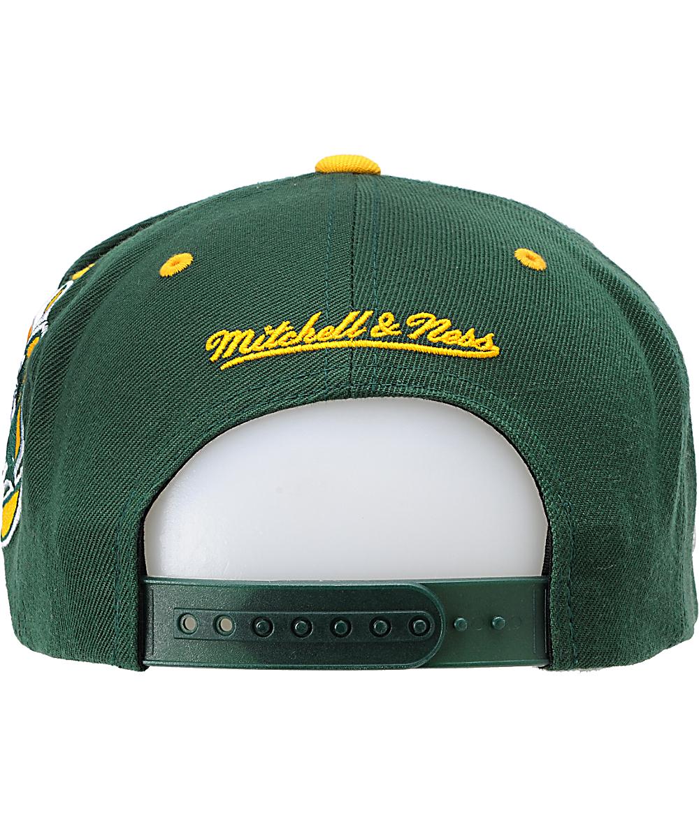 1cdb813a NFL Mitchell and Ness Green Bay Packers XL Snapback Hat | Zumiez