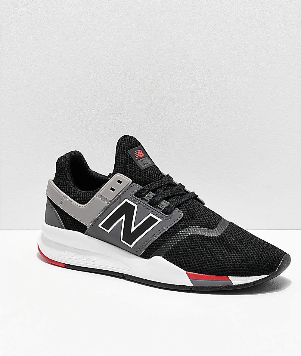 big sale 5b0c3 b6ff4 New Balance Lifestyle 247 V2 Black, Grey & White Shoes
