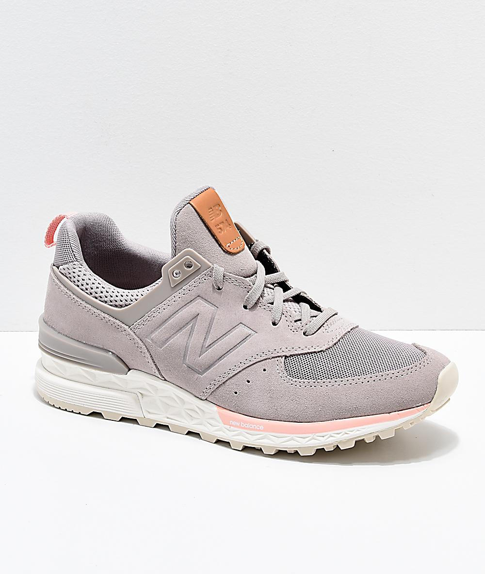 8f1cadae16e3 New Balance Lifestyle 574 Sport Flat White & Himalayan Pink Shoes   Zumiez