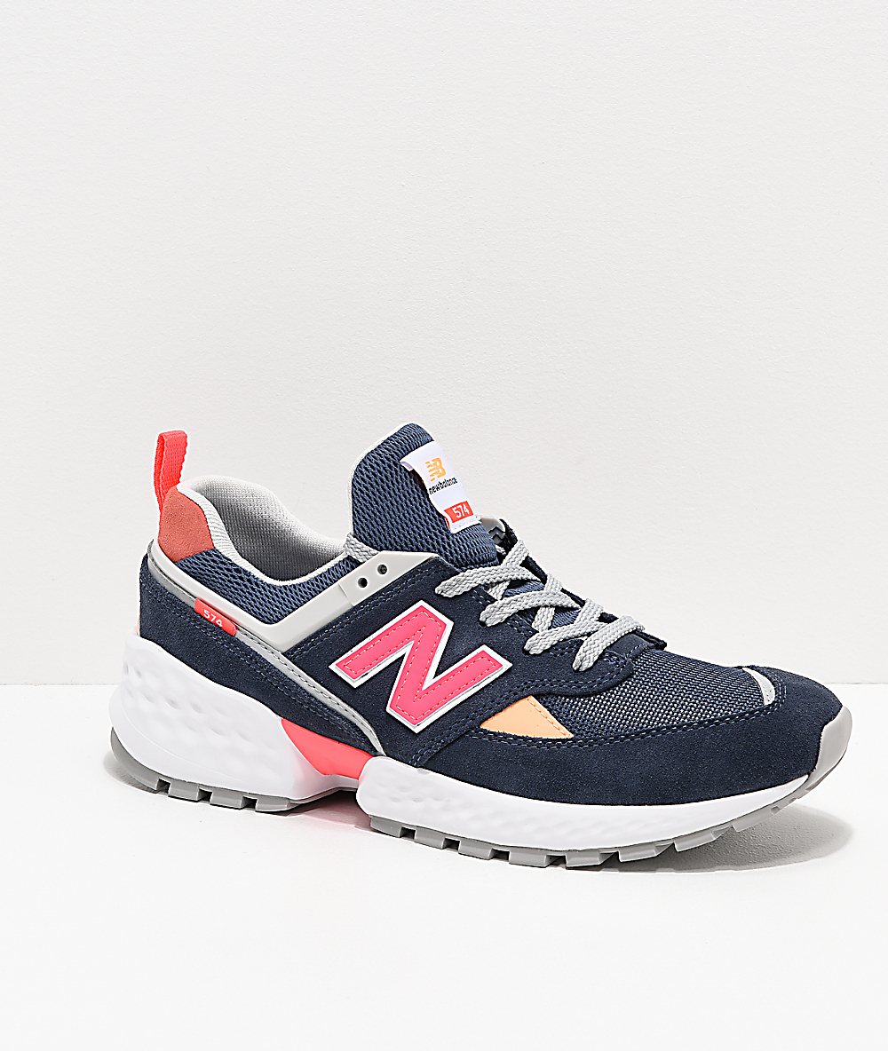 58003896563 New Balance Lifestyle 574 Sport Navy & Guava Shoes