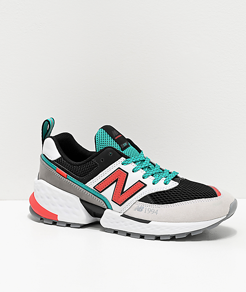 New Balance Lifestyle 574 Sport White & Coral Glow Shoes