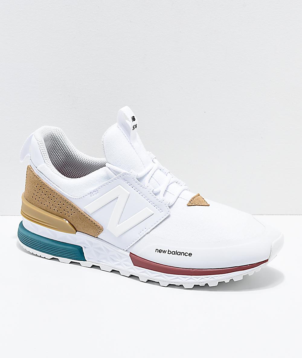 New Balance Lifestyle 574 Sport White & Hemp Shoes