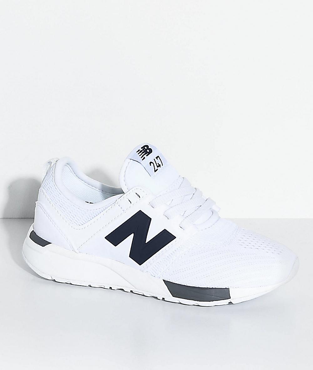 e753f5f4706b0 New Balance Numeric Kids 247 Classic Omni White & Grey Shoes | Zumiez
