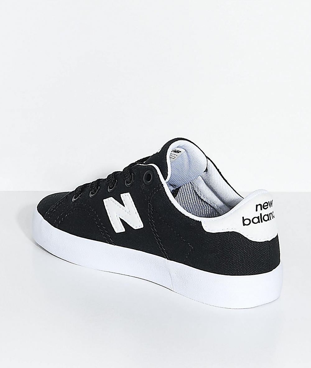 8666bd8d New Balance Numeric Kids Court Black & White Canvas Skate Shoes