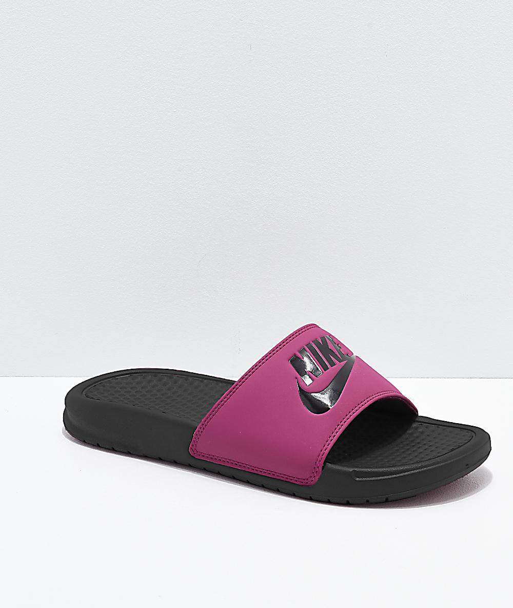 purple nike slides mens