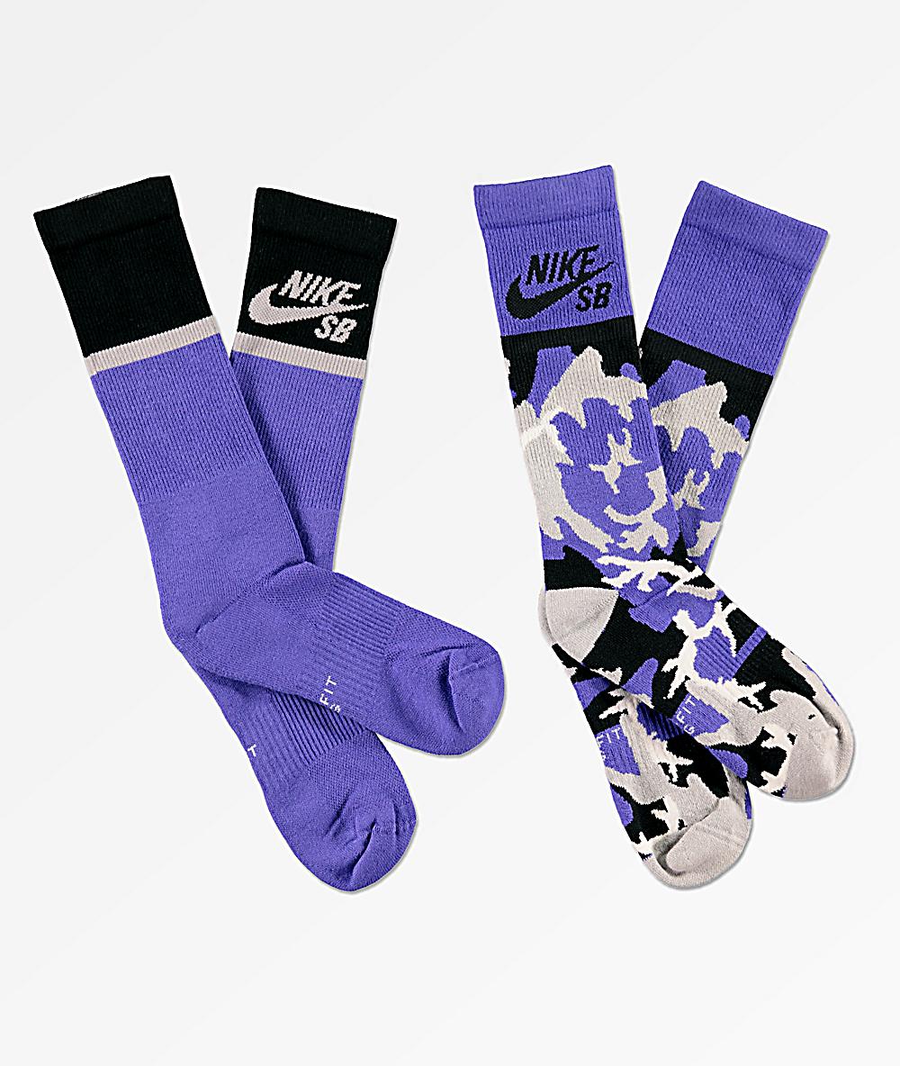 571e45a776ed4 Nike SB 2 Pack Energy Purple Crew Socks