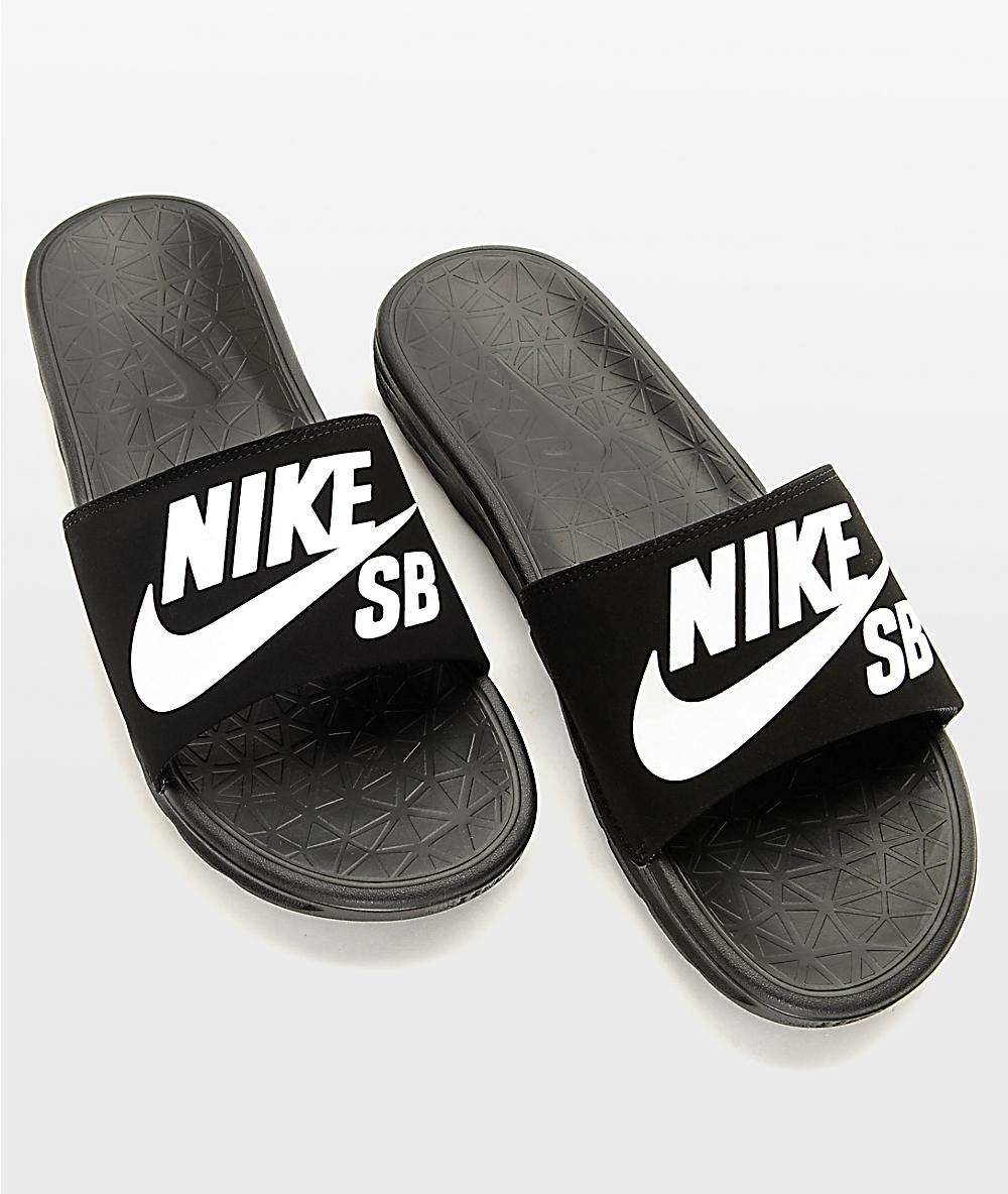 reputable site f1dc5 ac73b Nike SB Benassi SolarSoft Black & White Slides