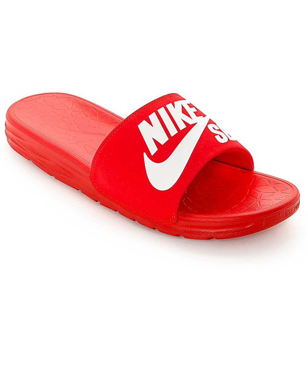 buy online 3b2ba 409d4 Nike SB Benassi SolarSoft Red & White Slides