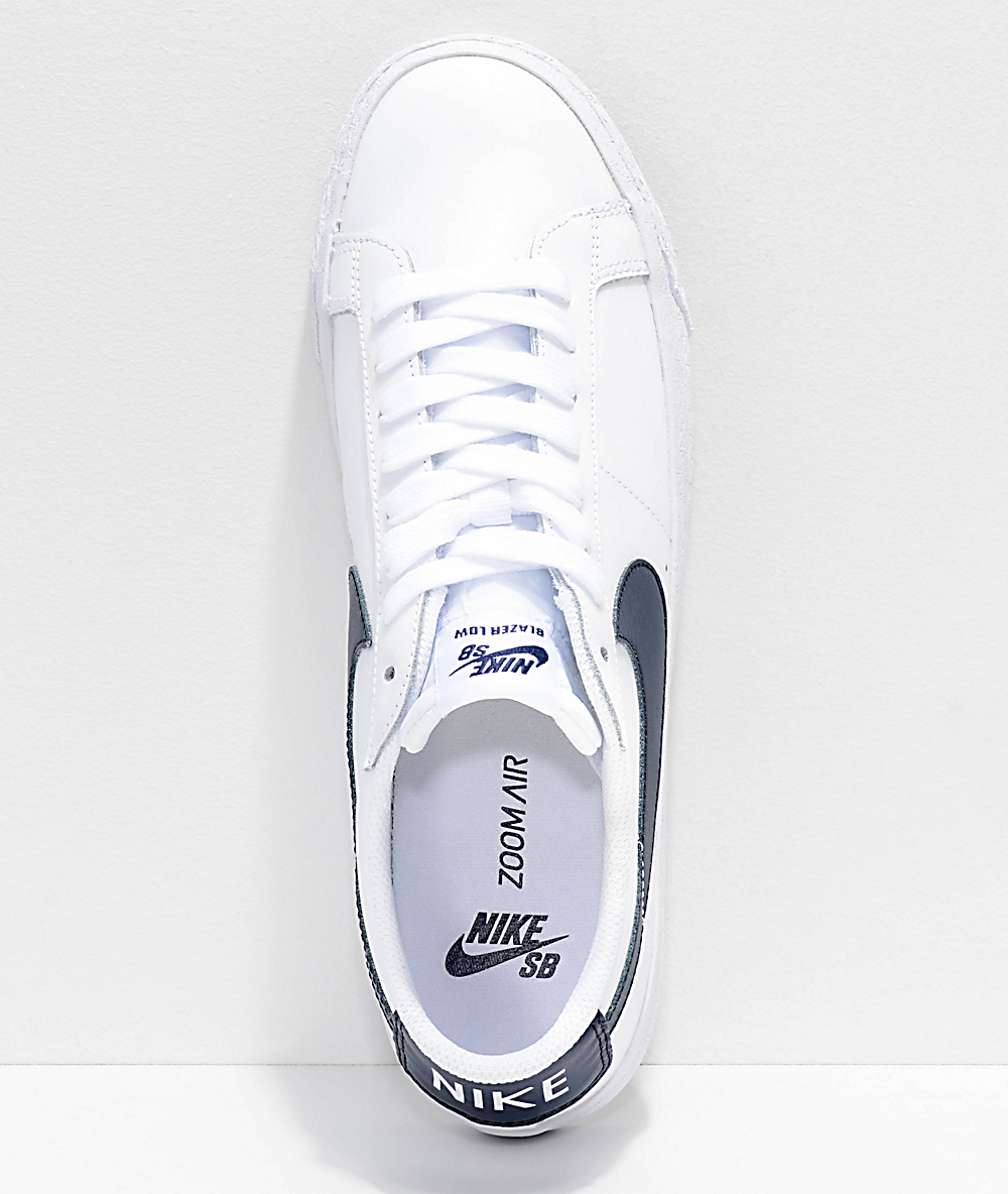 excellent quality check out dirt cheap Nike SB Blazer Zoom Low White & Obsidian Leather Skate Shoes