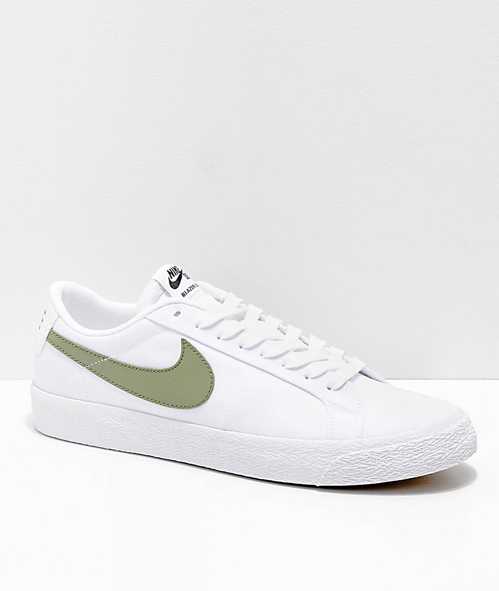 new concept 83a25 66786 Nike SB Blazer Zoom Low White   Palm Canvas Skate Shoes   Zumiez