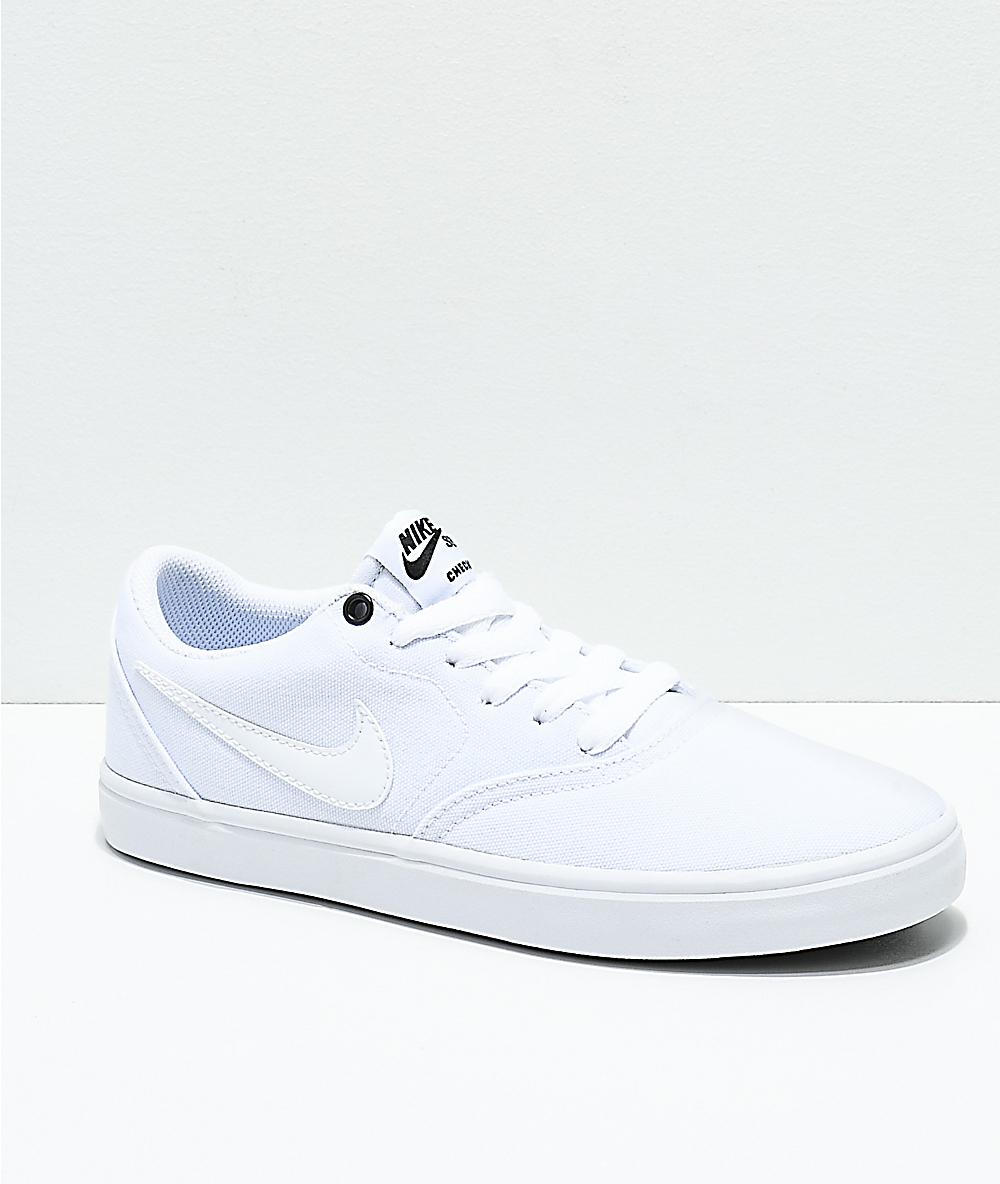 f336ce84 Nike SB Check Solarsoft White Canvas Skate Shoes