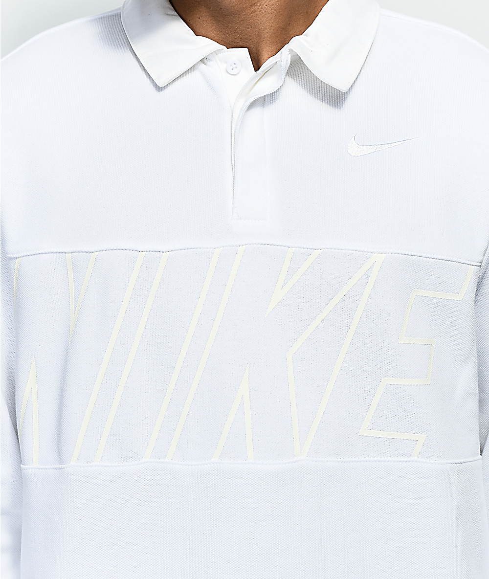 e72c3ad3a Nike SB DRI-Fit White Rugby Long Sleeve Shirt | Zumiez