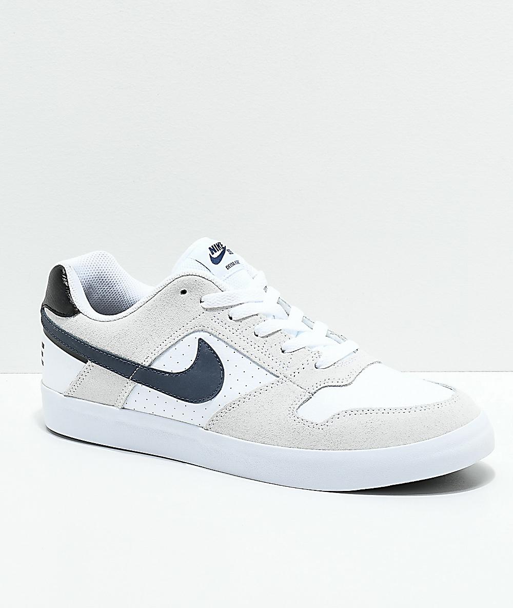 f574bae5e Nike SB Delta Force White & Navy Skate Shoes   Zumiez