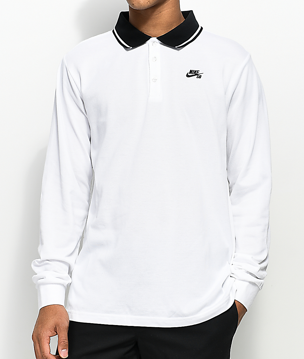 6a0f3f830 Nike SB Dri Fit Pique Knit White Long Sleeve Polo Shirt | Zumiez