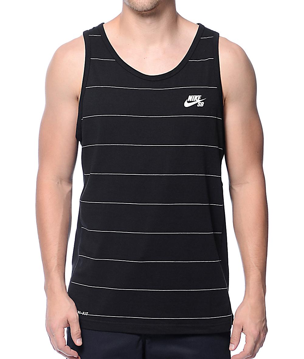 3676f71fa7 Nike SB Dri-Fit Stripe Black Tank Top