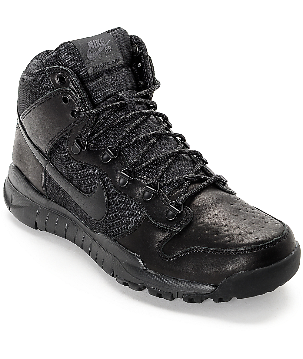 nouvelles photos 8425d fb876 Nike SB Dunk High OMS All Black Shoes