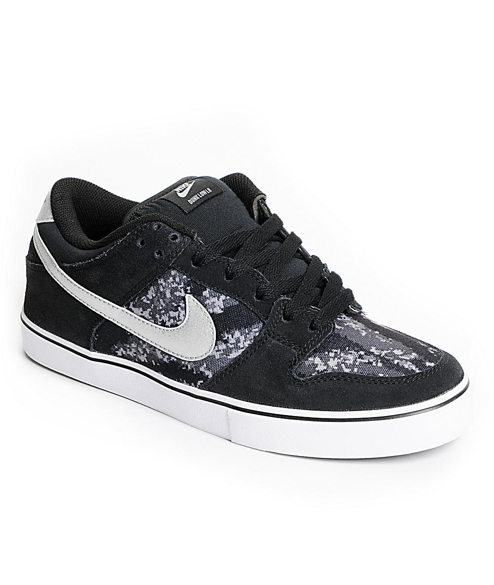 online retailer 61afa bae85 Nike SB Dunk Low LR Black, Metallic Silver & White Skate Shoes