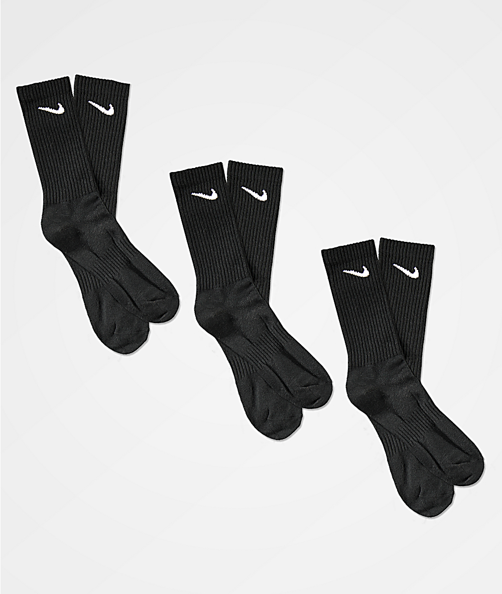 85b448c7d Nike SB Everyday Lightweight 3 Pack Black Crew Socks | Zumiez