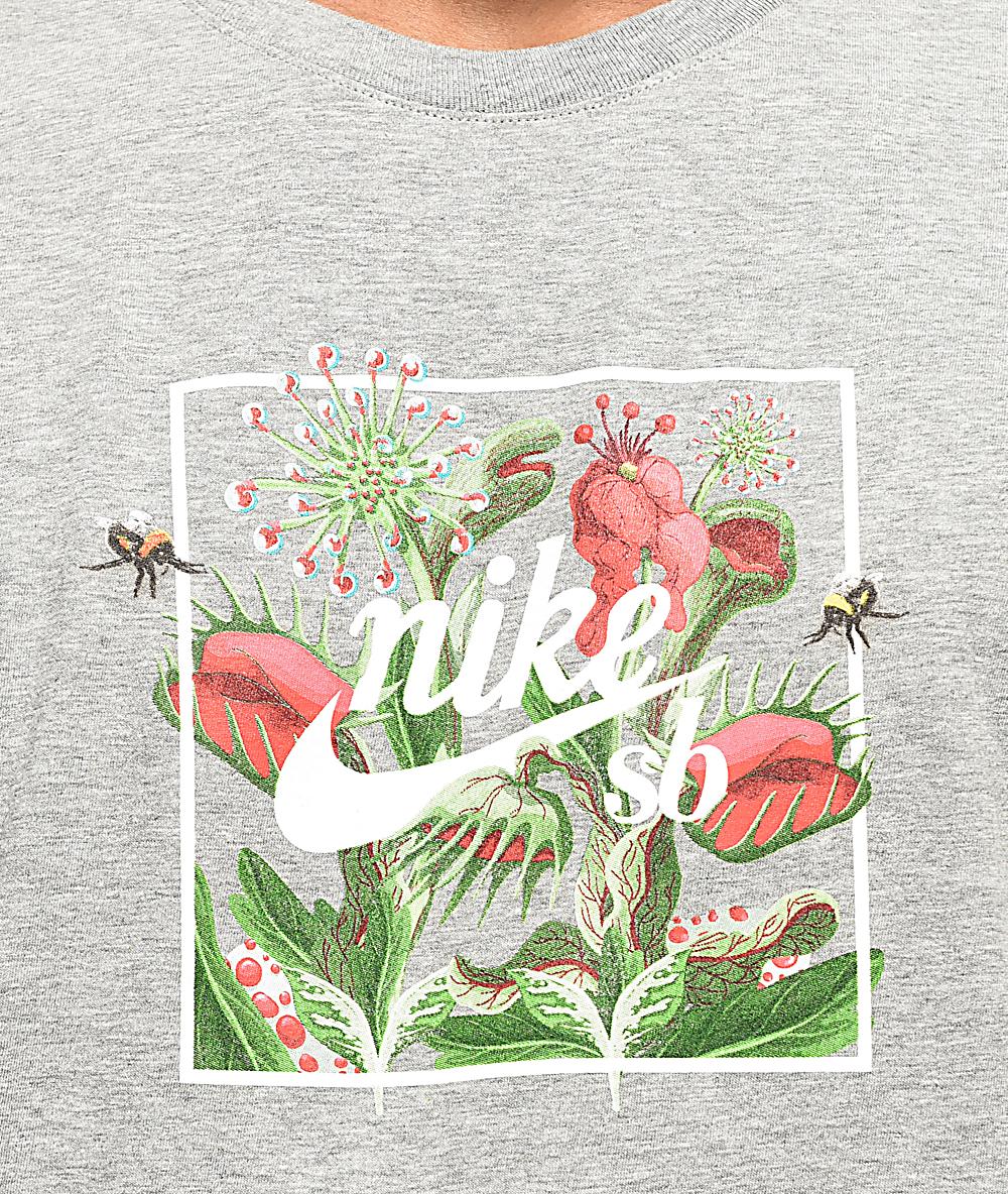 Nike Sb Floral Flytrap Grey T Shirt Zumiez