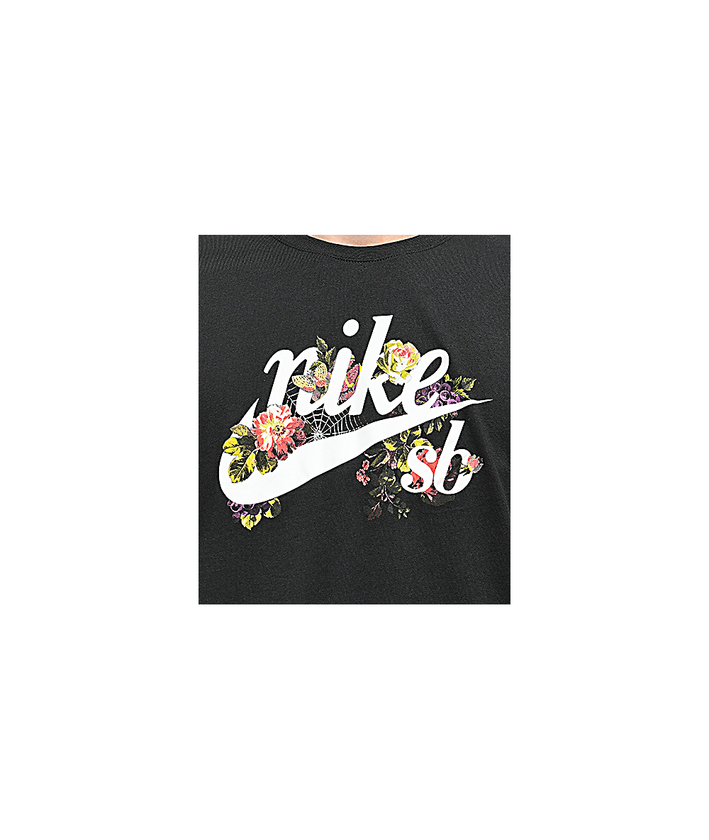 Nike Sb Floral Old School Logo Black T Shirt Zumiez