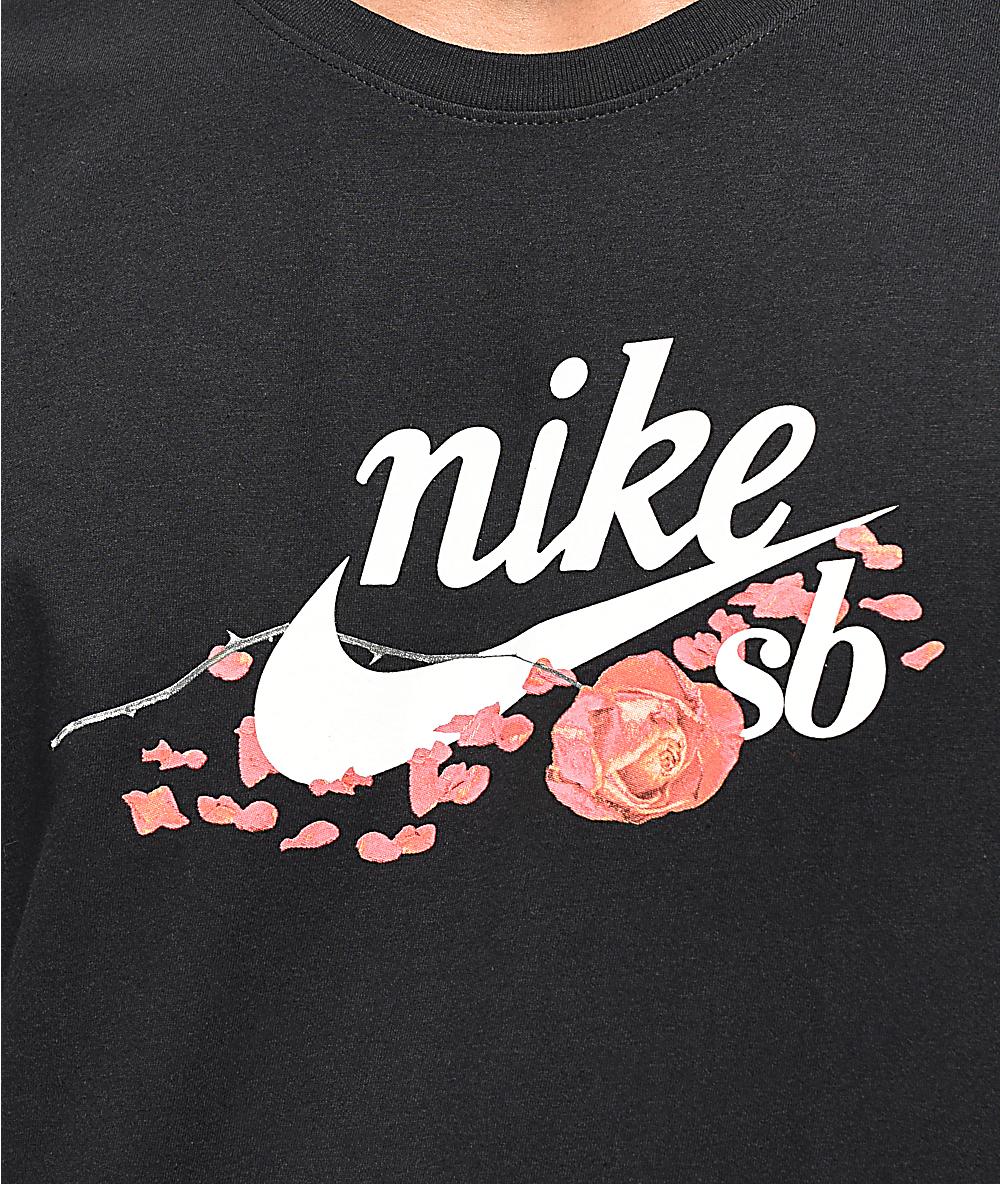 Nike Sb Floral Roses Black T Shirt Zumiez