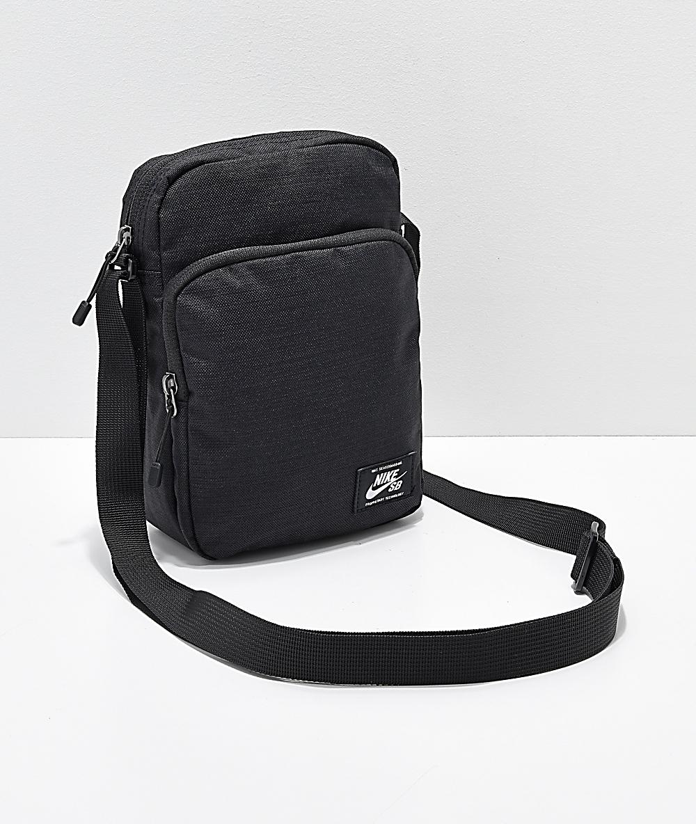 online store f9f3e 6321d Nike SB Heritage Black   White Shoulder Bag   Zumiez