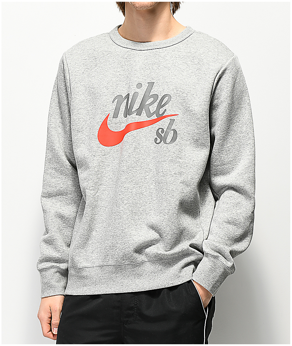 5a6afdd95 Nike SB Icon Craft Heather Grey Crew Neck Sweatshirt | Zumiez