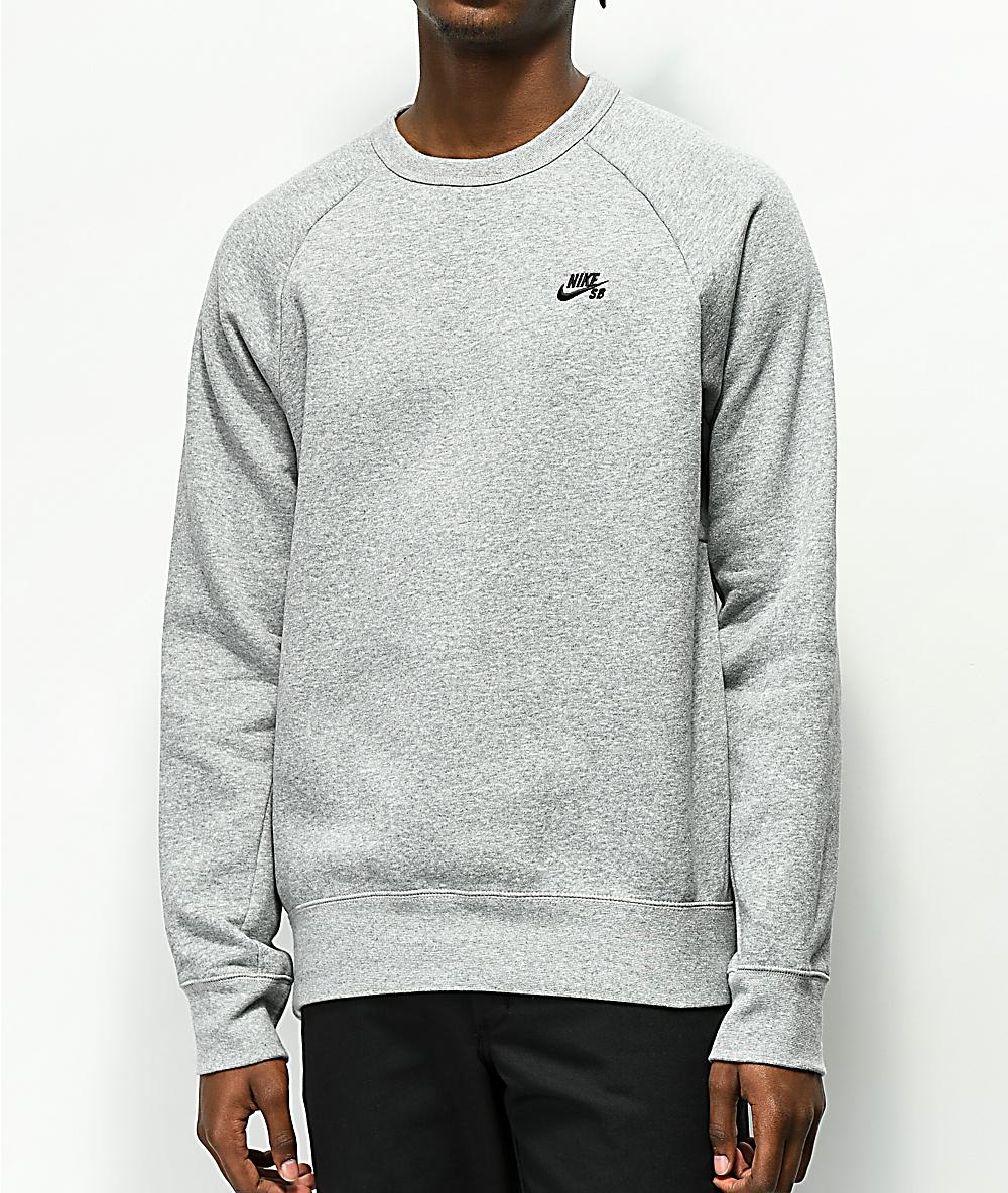 b70aae191 Nike SB Icon Heather Grey Crew Neck Sweatshirt | Zumiez