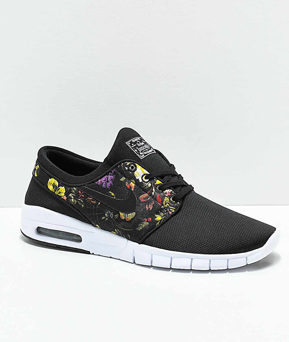 brand new f93b9 e0d37 Nike SB Janoski Air Max Black & Floral Shoes