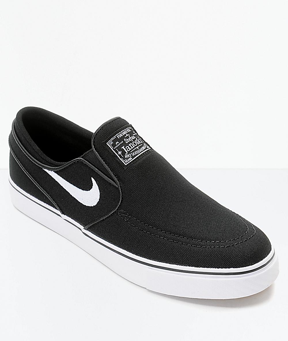 4818c3a1fc80 Nike SB Janoski Black & White Kids Slip-On Canvas Skate Shoes | Zumiez