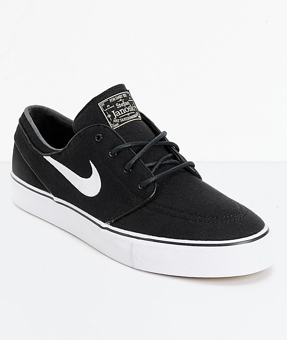 Nike SB Janoski Black & White Canvas Skate Shoes
