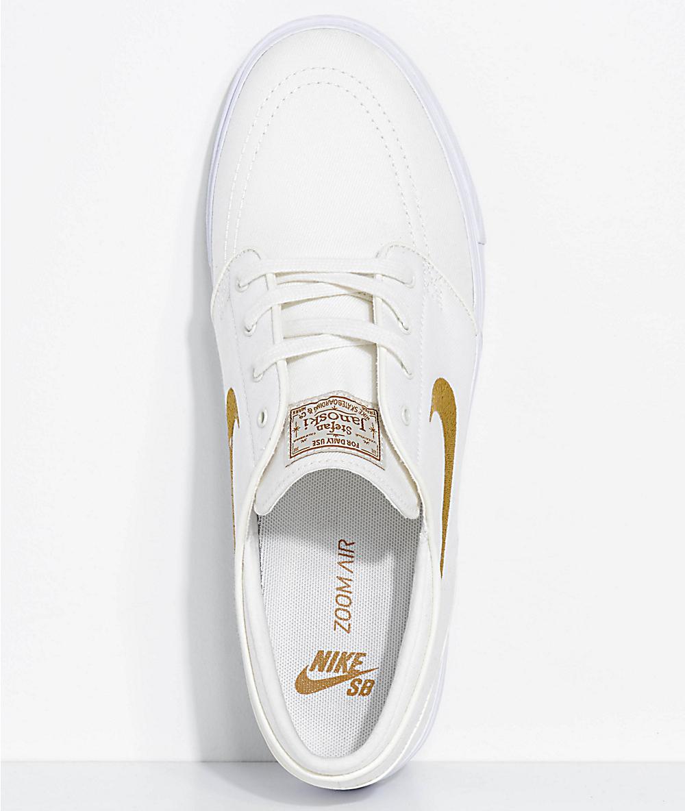 Nike SB Janoski White Sail & Golden Beige Canvas Skate Shoes | Zumiez