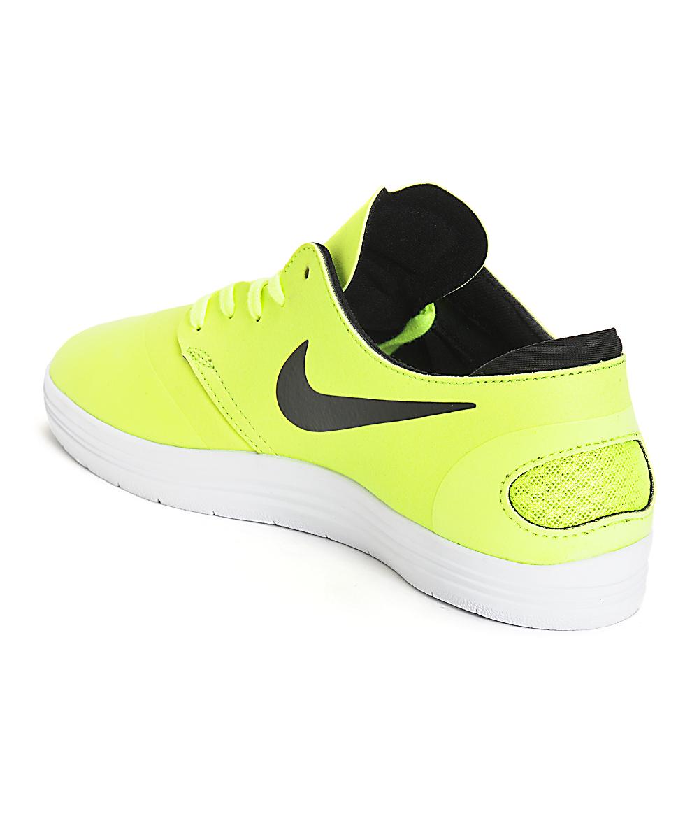huge discount ff0a6 6d048 Nike SB Lunar Oneshot Volt   Black Skate Shoes   Zumiez