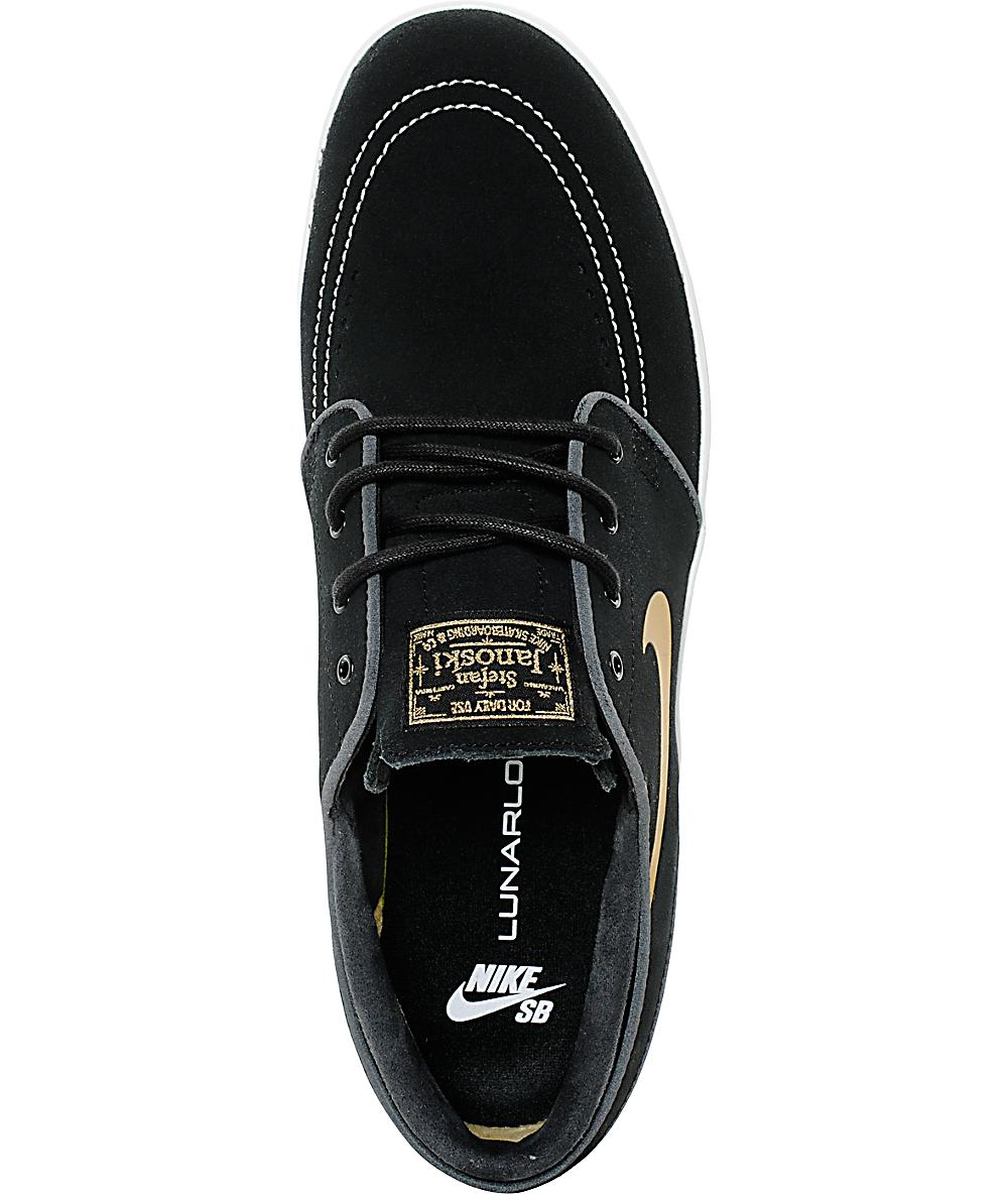 buy online 674ba a3130 Nike SB Lunar Stefan Janoski Black   Metallic Gold Skate Shoes   Zumiez