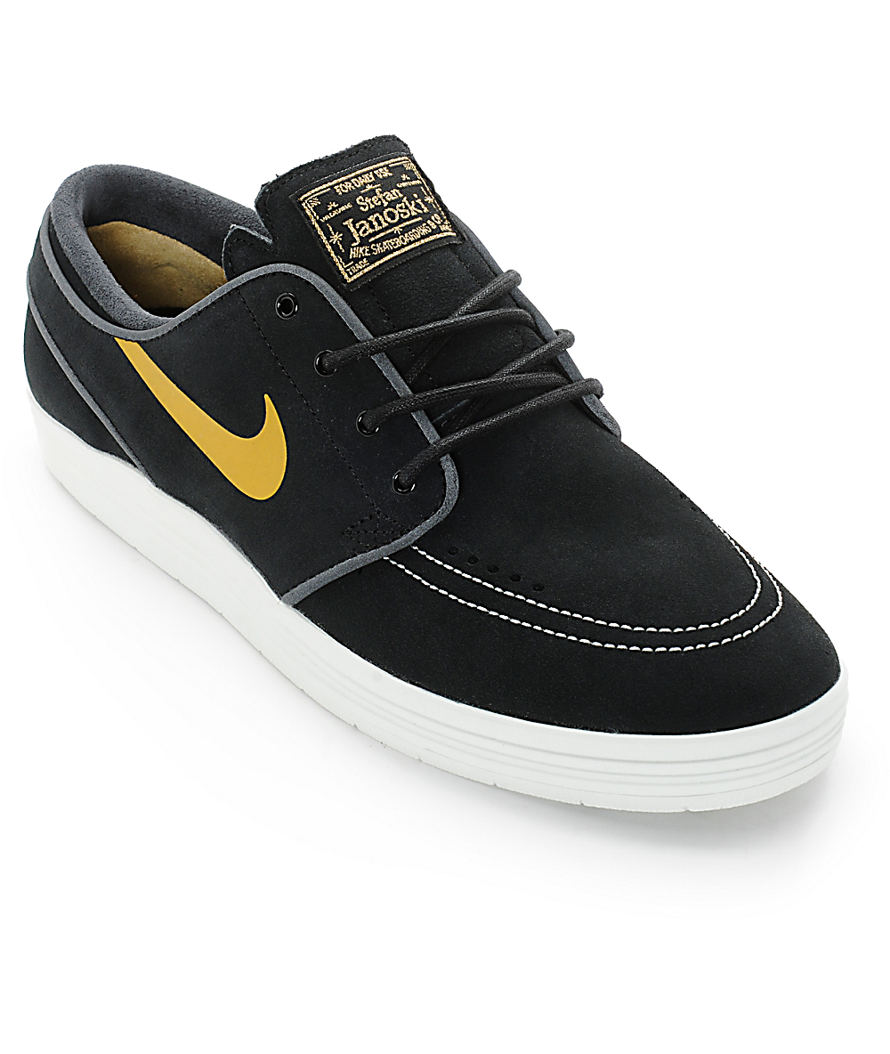 buy online ebb88 413e4 Nike SB Lunar Stefan Janoski Black   Metallic Gold Skate Shoes   Zumiez