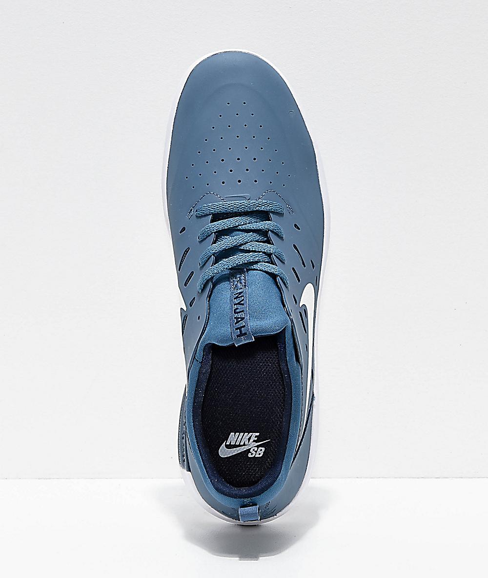 Nike SB Nyjah Free Thunderstorm Blue & White Skate Shoes