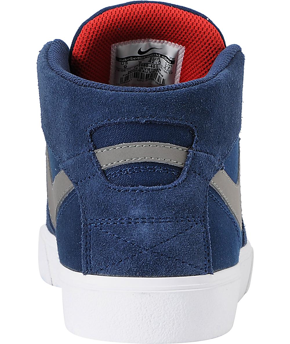 best loved 8f7b8 6775d Nike SB Omar Salazar LR Navy   Pewter Mid Top Skate Shoes   Zumiez