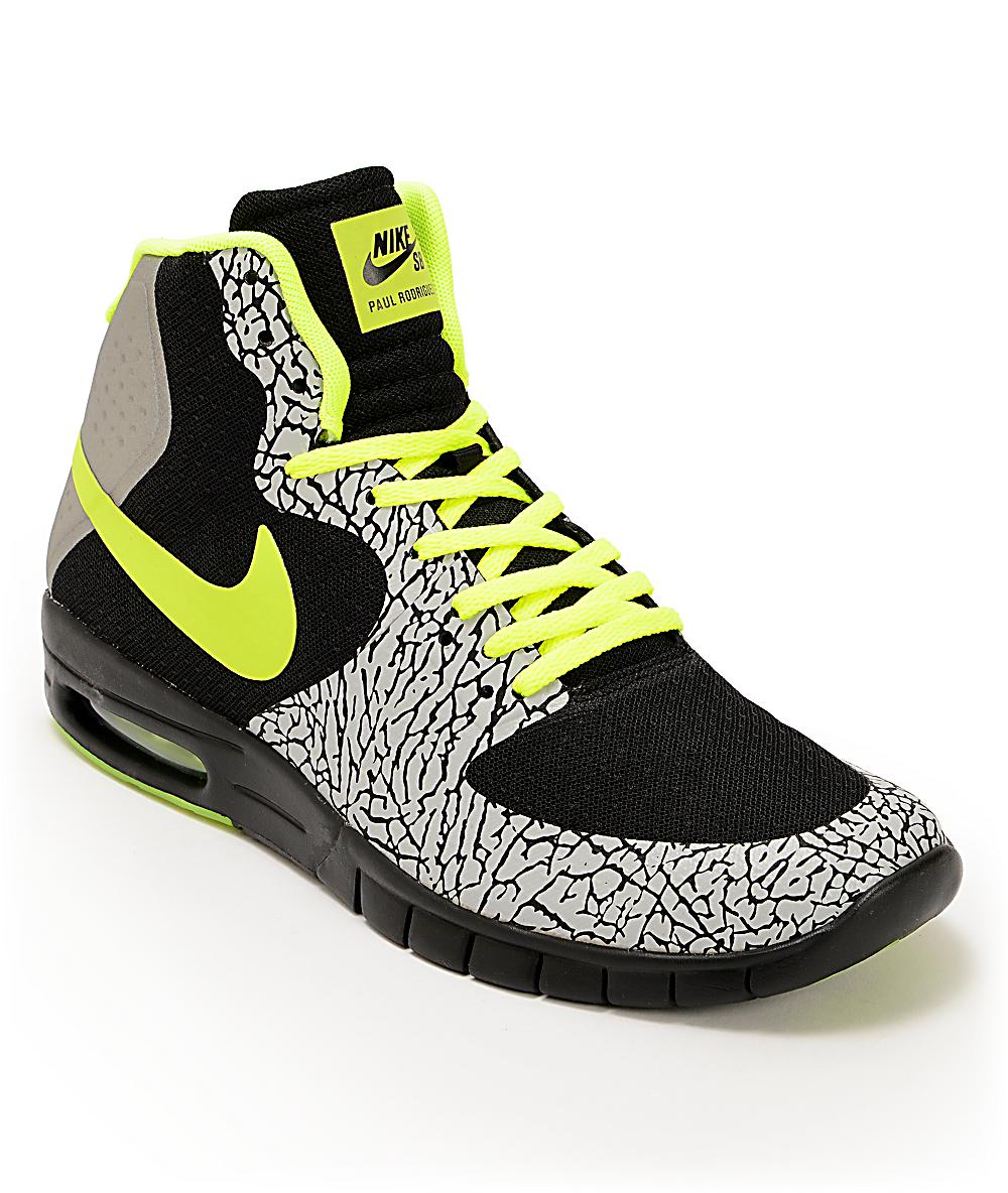 grossiste bc909 26eff Nike SB P-Rod 7 Hyperfuse Air Max Premium Black, Volt, Metallic Silver Shoes