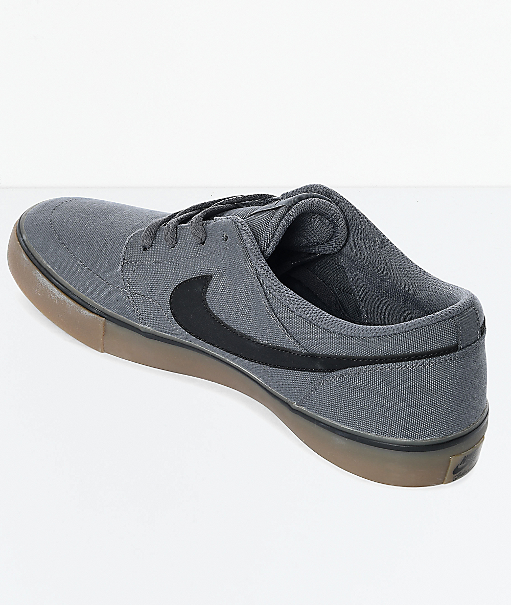 ce26ca01ec132 Nike SB Portmore II Dark Grey & Gum Canvas Skate Shoes